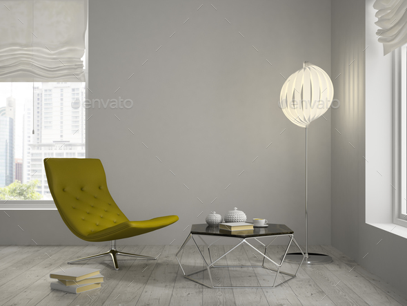 Interior of modern design room 3D rendering - Stock Photo - Images