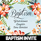 Watercolor Floral Baptism Invitation  - GraphicRiver Item for Sale