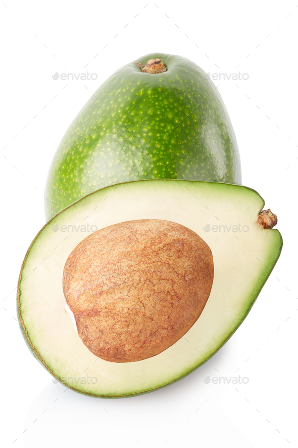 Avocado and half isolated on white, clipping path