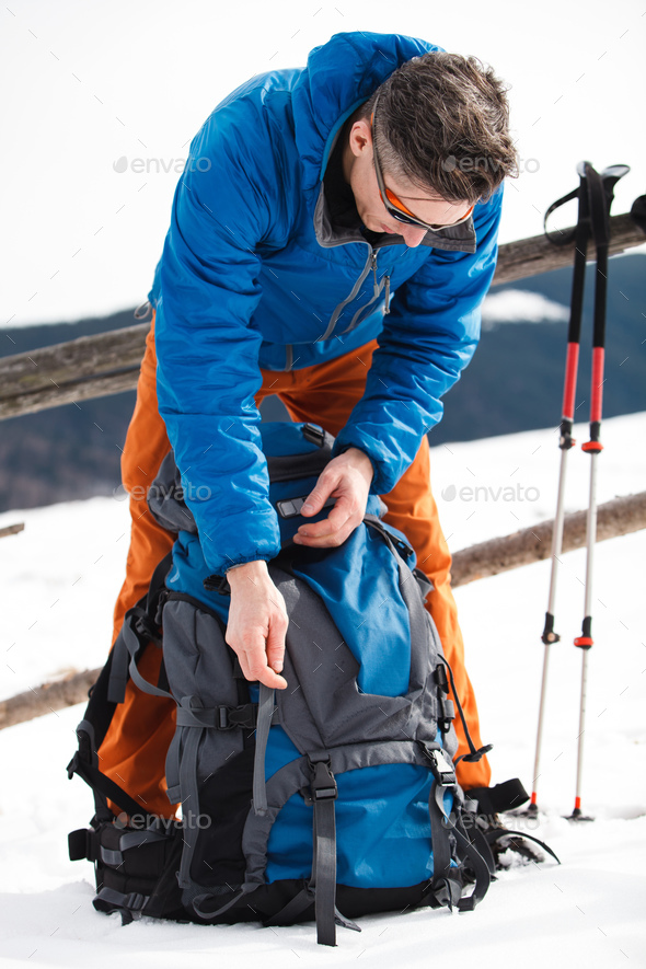 Hiker in winter mountains - Stock Photo - Images