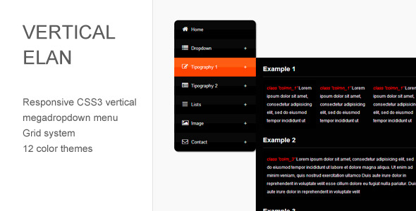 Vertical Elan - Responsive CSS3 Vertical Menu - CodeCanyon Item for Sale