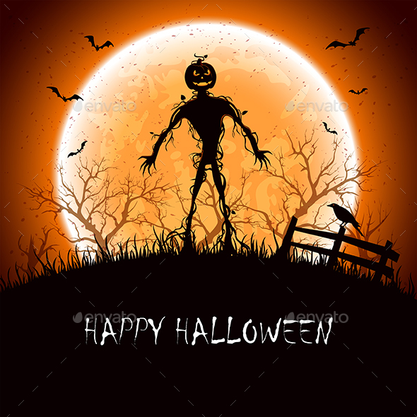 Halloween Night with Monster by losw | GraphicRiver