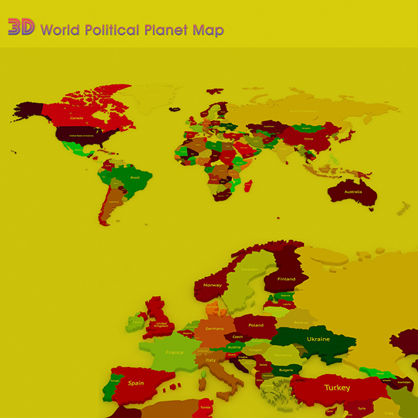 3D World Political Planet Map - 3DOcean Item for Sale
