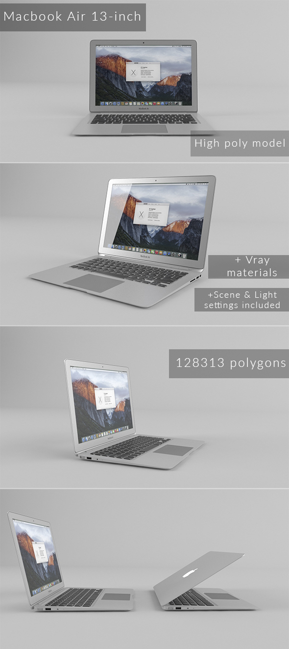 Macbook Air 13-inch - 3DOcean Item for Sale