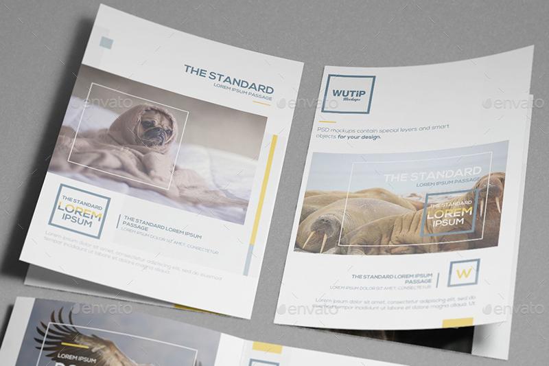 bi fold a4 brochure mockups by wutip graphicriver