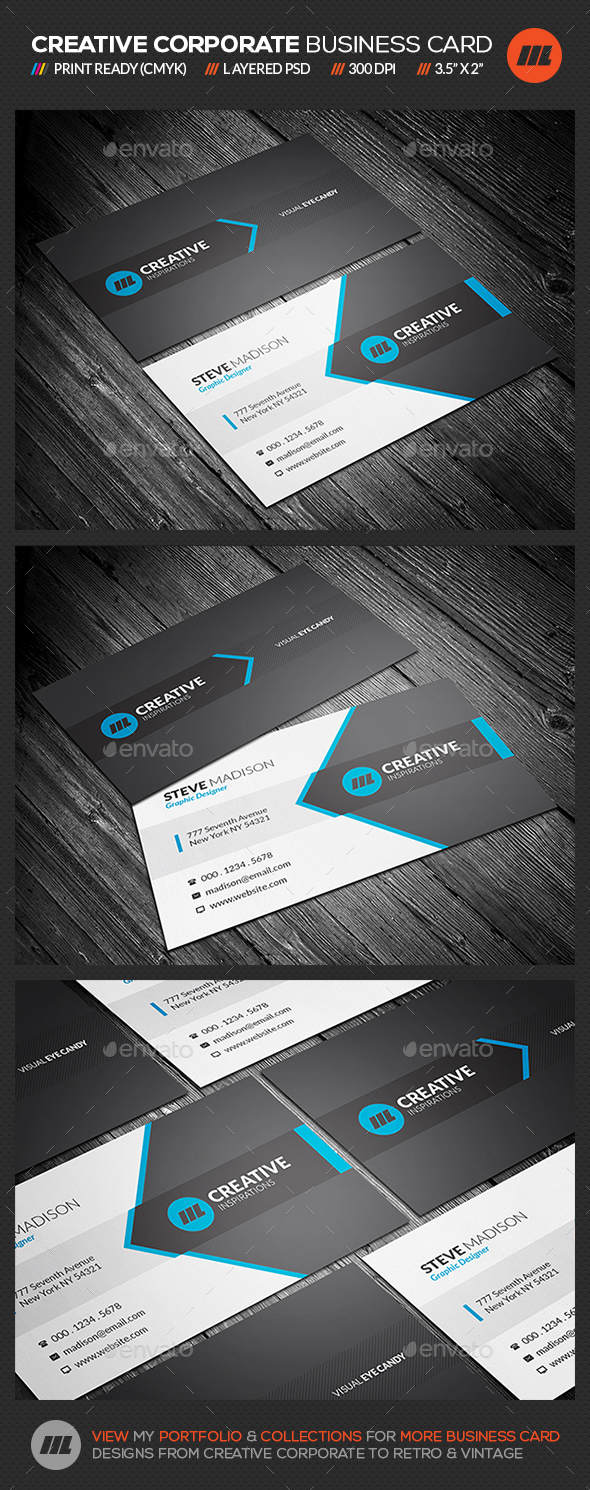Corporate Blue Business Card Template - Corporate Business Cards
