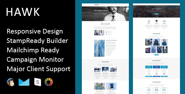 Hawk – Multipurpose Responsive Email Template + Stampready Builder