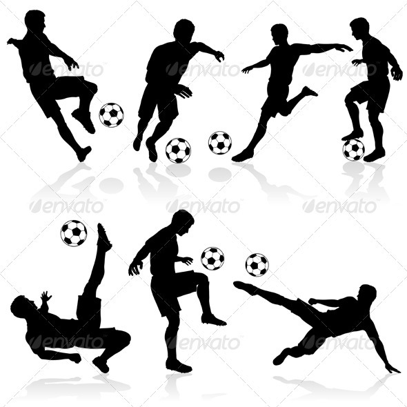 Silhouettes of Football Players - Sports/Activity Conceptual
