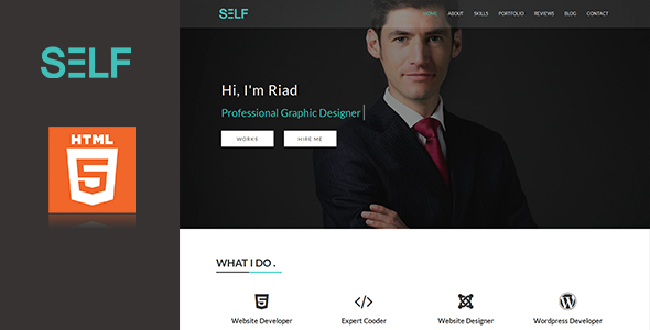 Self – HTML One Page Potfolio and Resume Cv