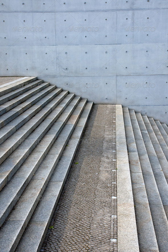 Concrete stairs and concrete wall - Stock Photo - Images