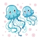 Couple Smiling Jellyfish Floating in the Sea - GraphicRiver Item for Sale