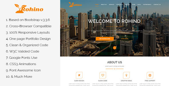 Rohino One Page Portfolio Html Template By Theme Crazy Themeforest
