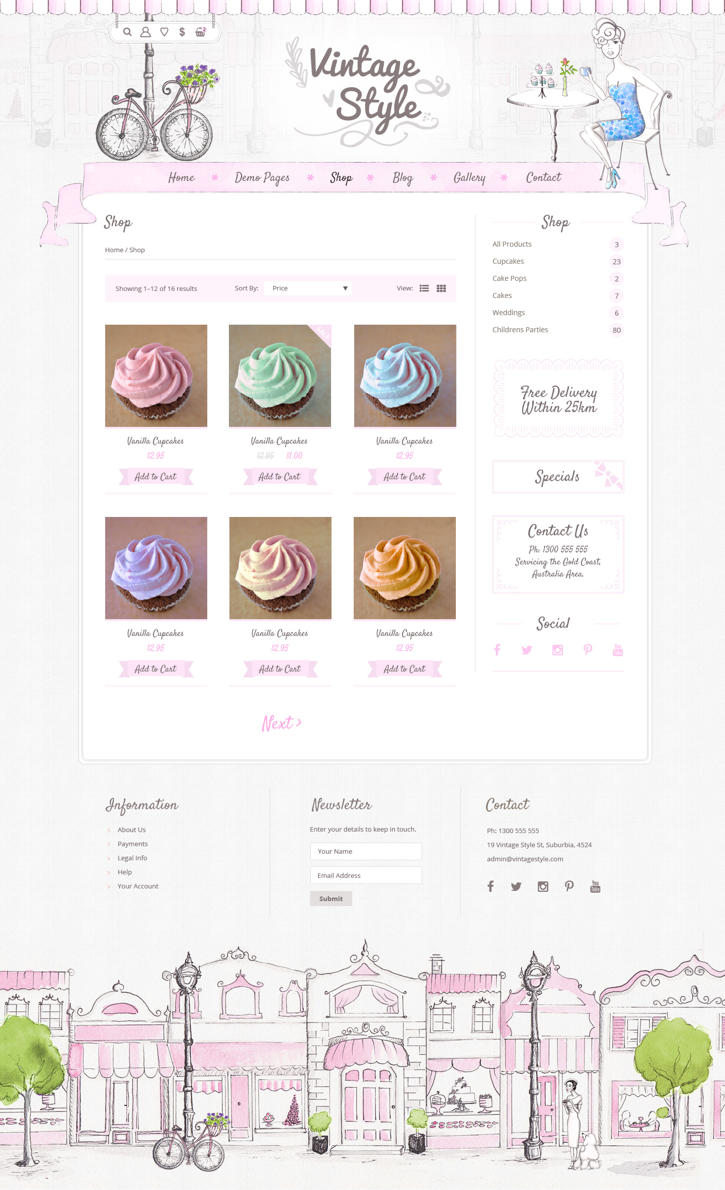Vintage Style Shop and Blog PSD