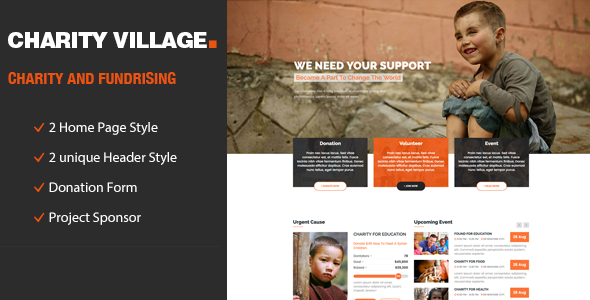 Charity Village – Responsive HTML Template for Charity & Fund Raising