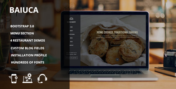 Image of Baiuca - Drupal 7 restaurant template