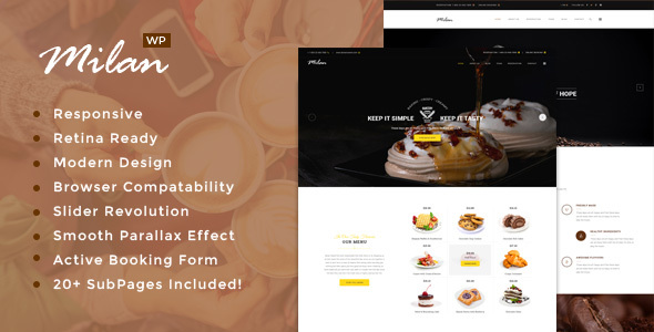 Milan : Bakery / Coffee / Vegan / Restaurant WordPress theme - Restaurants & Cafes Entertainment
