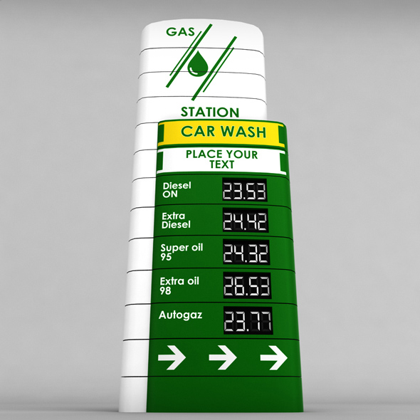 Gas station price sign totem low poly 04 - 3DOcean Item for Sale