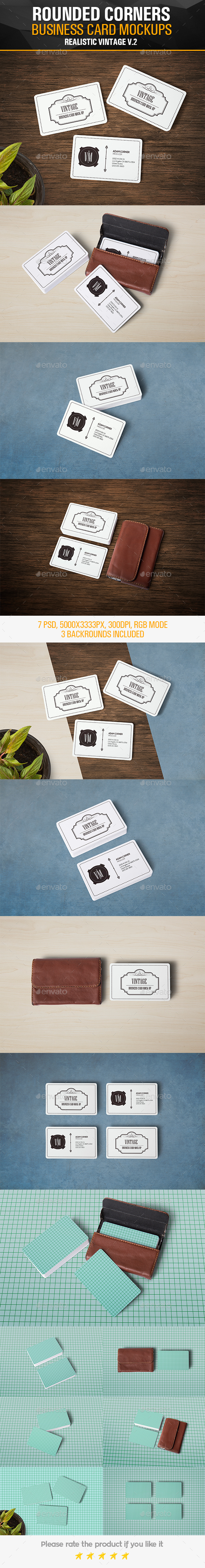 Rounded Corners Realistic Vintage Business Card Mockups - Business Cards Print