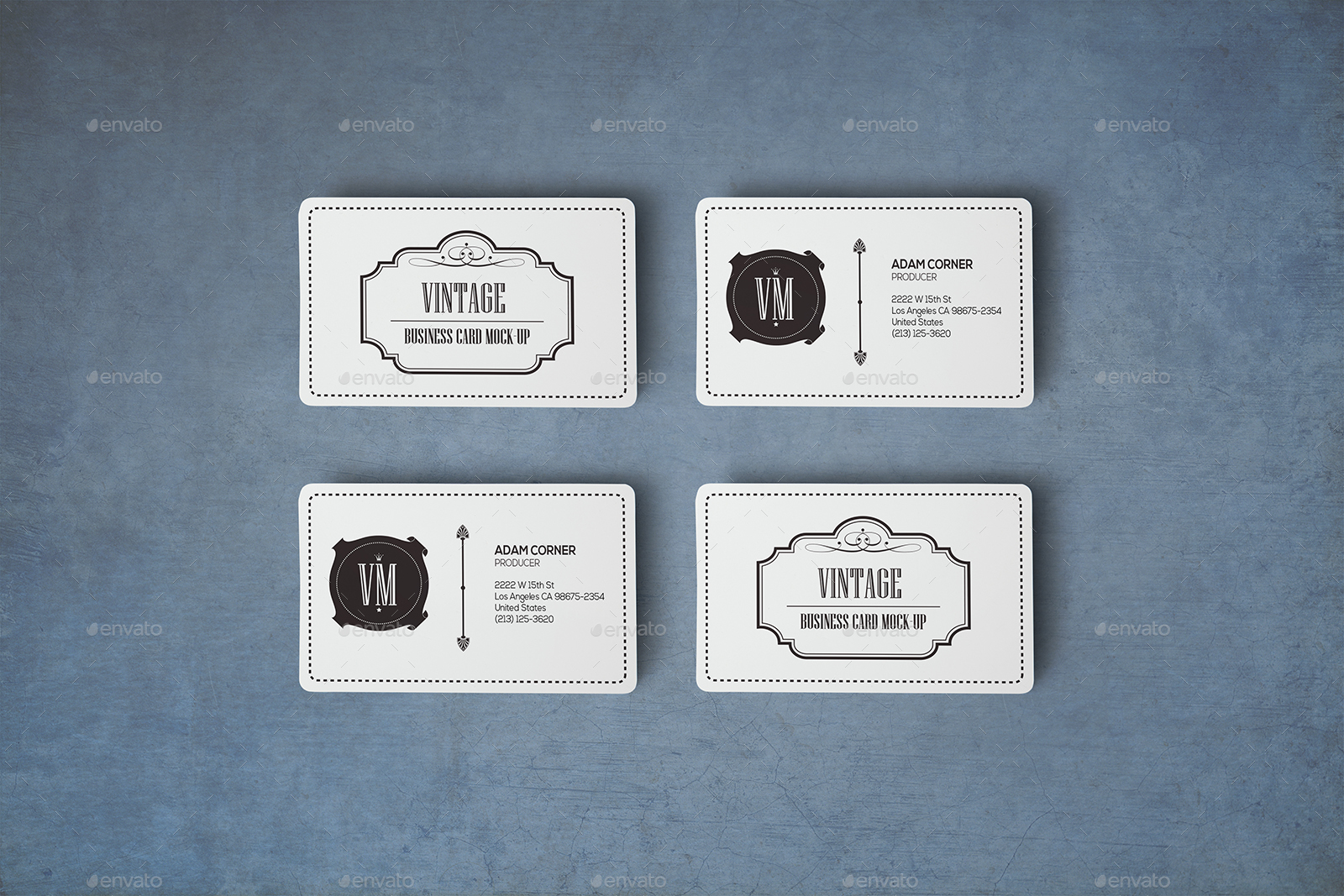 Rounded Corners Realistic Vintage Business Card Mockups by Xepeec ...