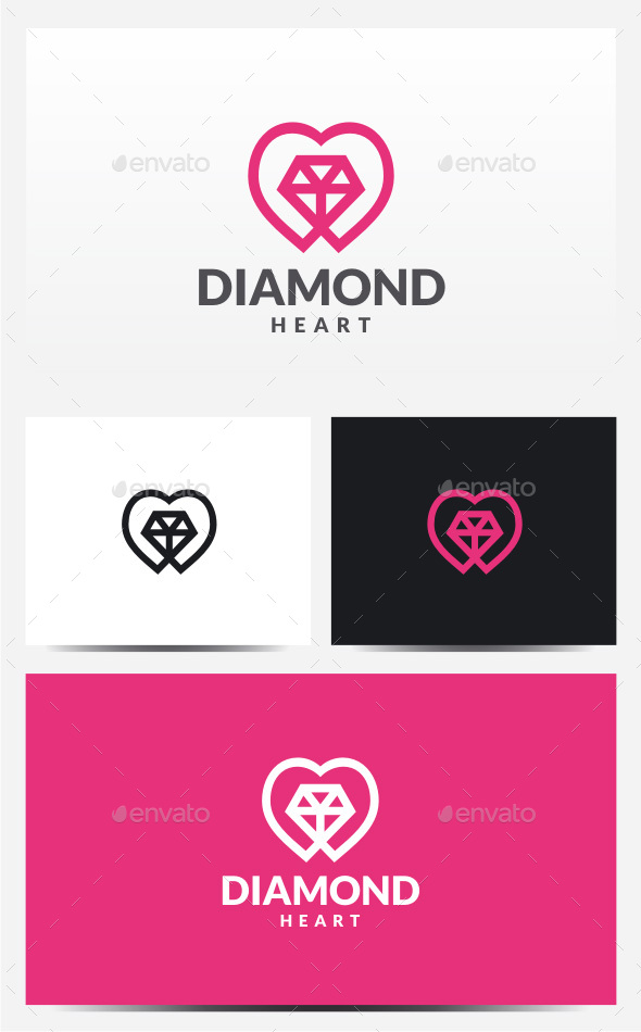 Diamond Heart Logo - Symbols Logo Templates