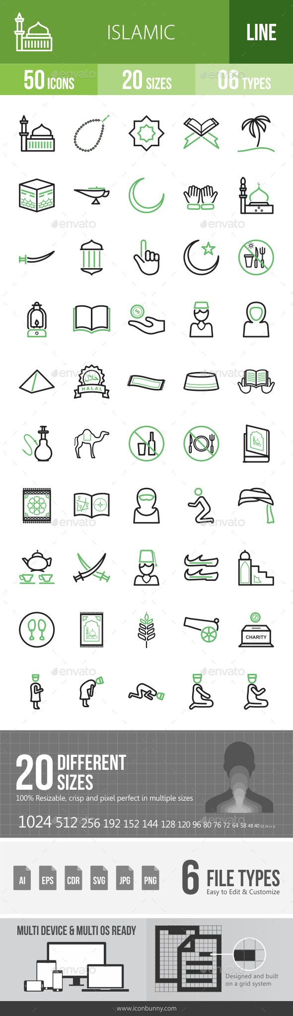 Islamic Line Green & Black Icons - Icons