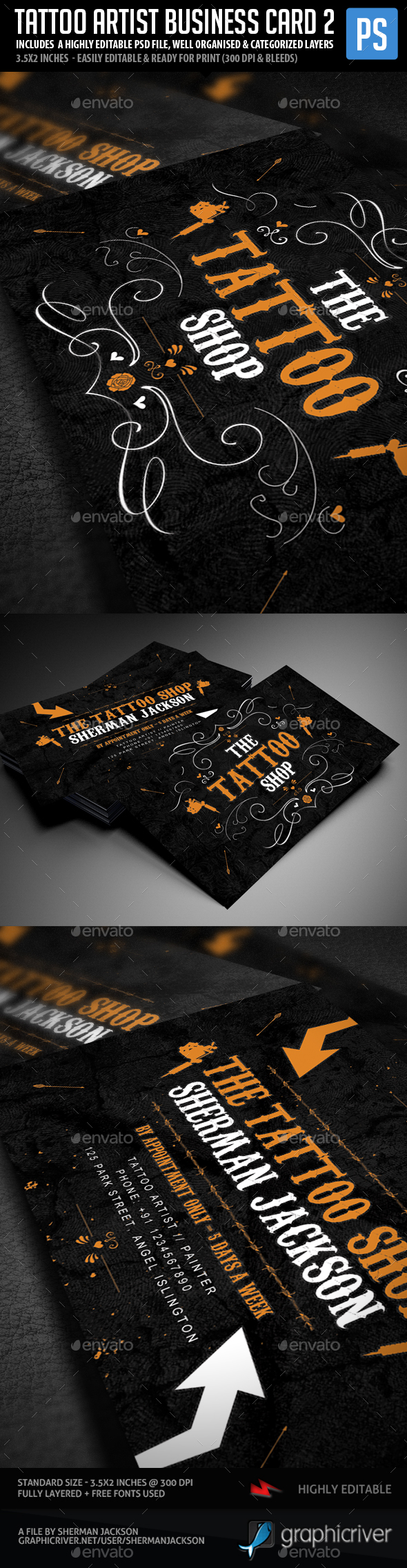 Tattoo Artist Business Cards V.2 by ShermanJackson | GraphicRiver