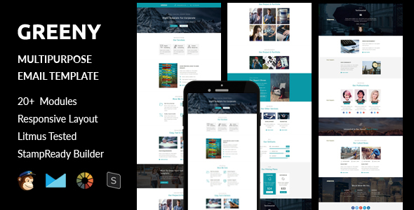 GREENY – Multipurpose Responsive Email Template + Stampready Builder