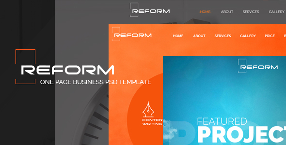 REFORM - Ultimate One Page Business PSD Template