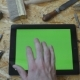 Male Hand Of Artisan Craftsman Using Tablet Pc With Green Screen In Workshop. - VideoHive Item for Sale