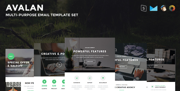 Avalan - Responsive Email Set - Newsletters Email Templates