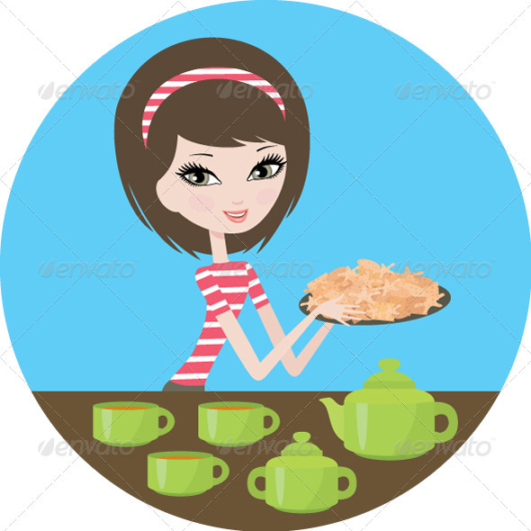 Pretty girl with cookies - Food Objects