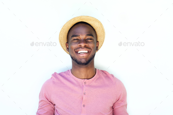 Smiling young black guy with hat Stock Photo by mimagephotography ... a86bdff76ee