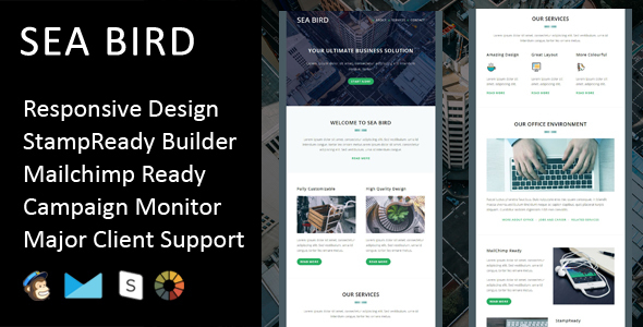 Sea Bird – Multipurpose Responsive Email Template + Stampready Builder
