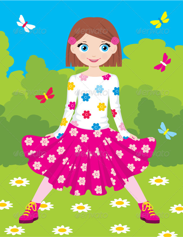 Happy Girl in Park - Characters Vectors
