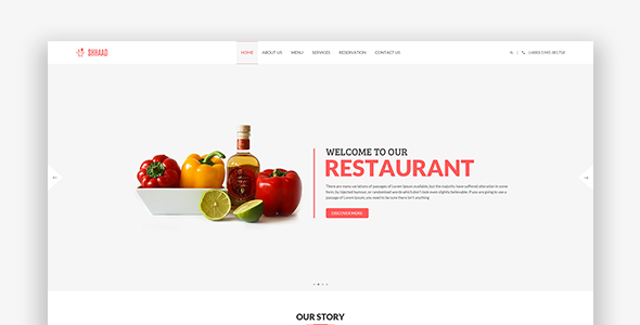 Shhaad – One Page Restaurant PSD Template