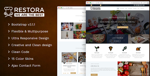 Restaurant, Cafeteria and Bistro Responsive Theme – Restora Multipurpose