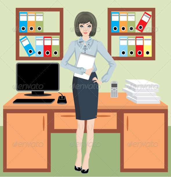 Businesswoman in Office - Business Conceptual