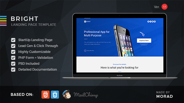Bright - Apps Startup Landing Page - Landing Pages Marketing