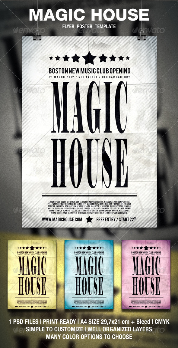 Magic House Typography Flyer / Poster - Clubs & Parties Events
