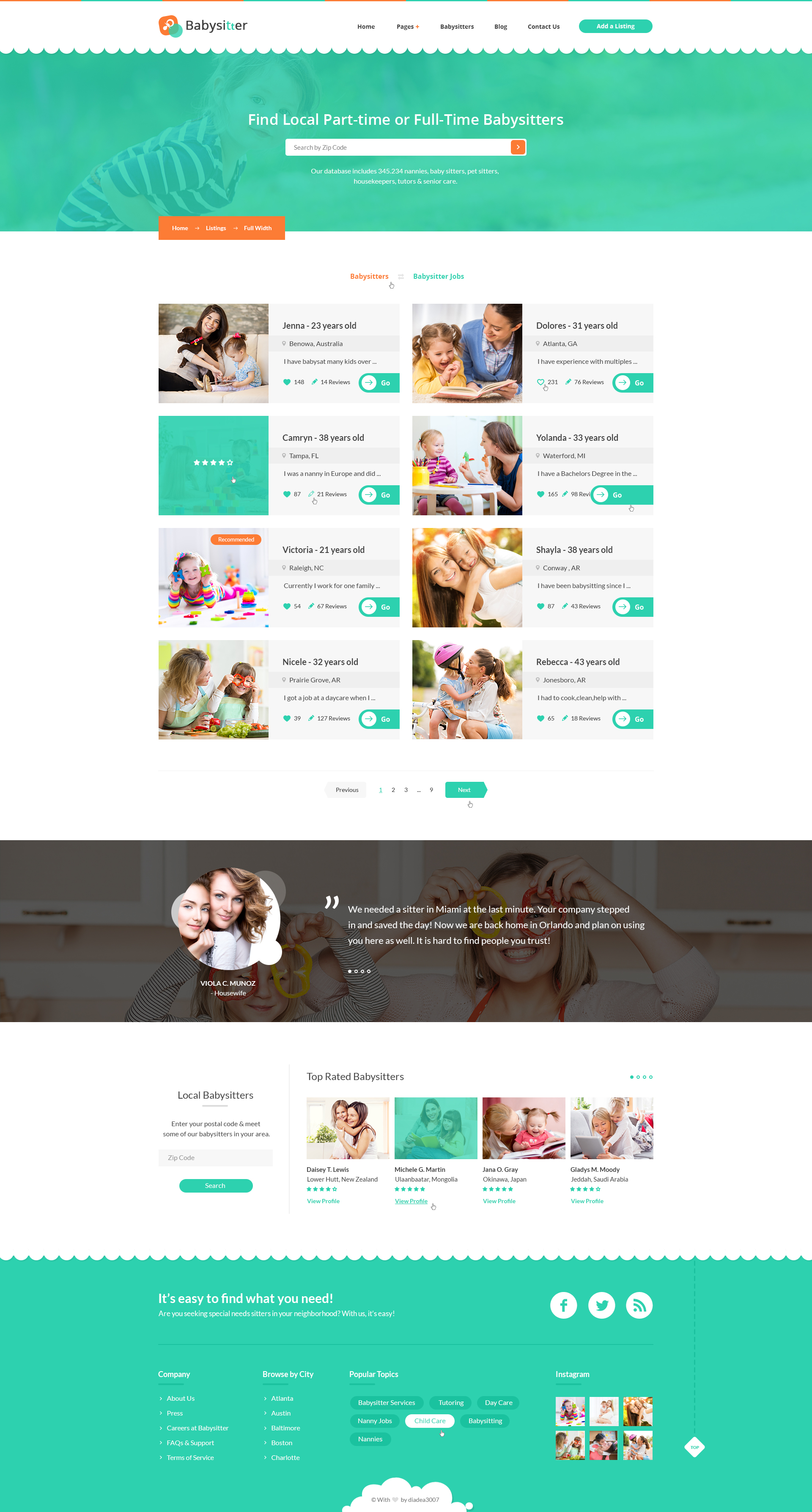 Babysitters - Jobs Directory Babysitting HTML Template by ...