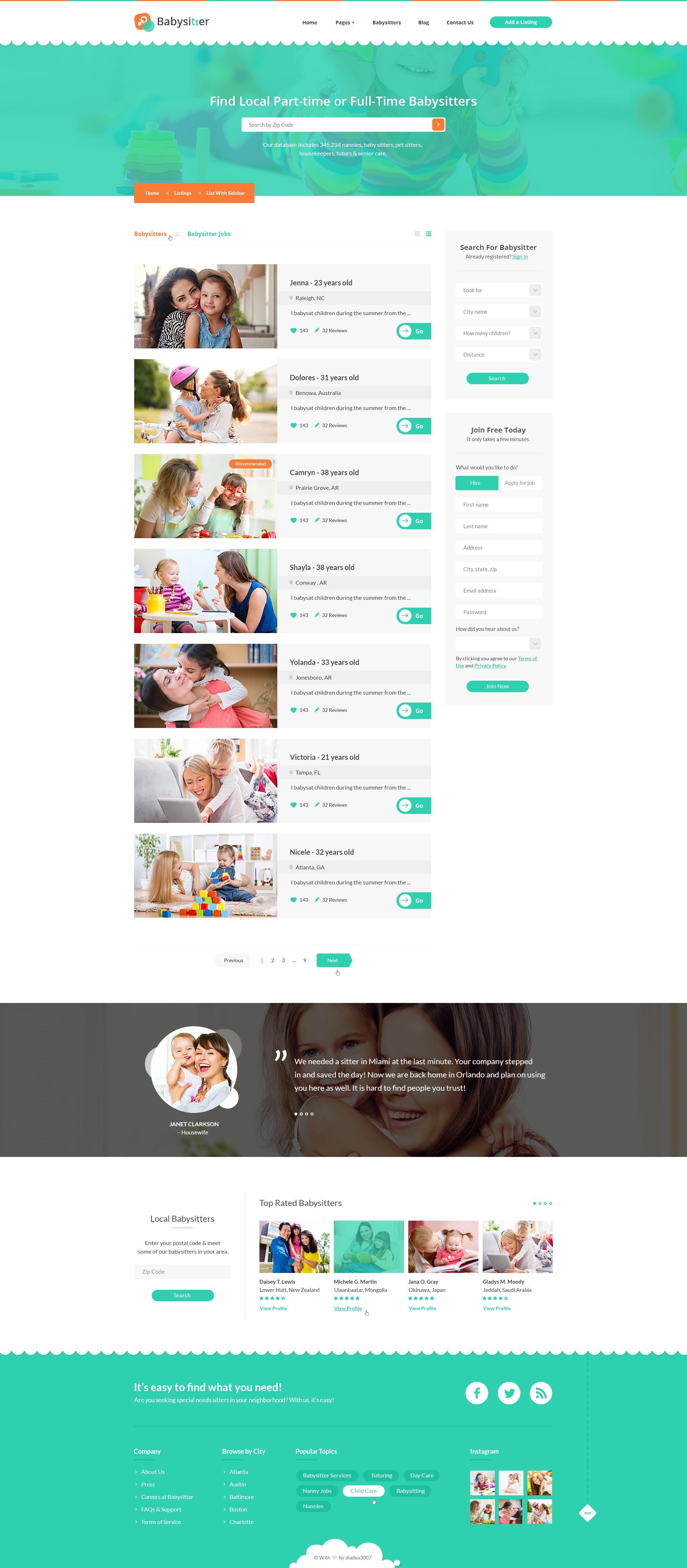 babysitters jobs directory babysitting html template by digisamaritan