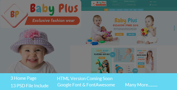 BabyPlus ecommerce PSD Template - Children Retail