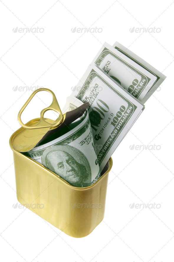Dollar Notes in Tin Can - Stock Photo - Images