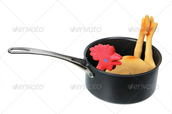 Toy Rubber Chicken in Pot - Stock Photo - Images