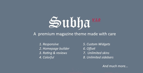 Subha – A Premium Magazine WordPress Theme