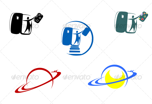 Aviation and travel symbols - Decorative Vectors
