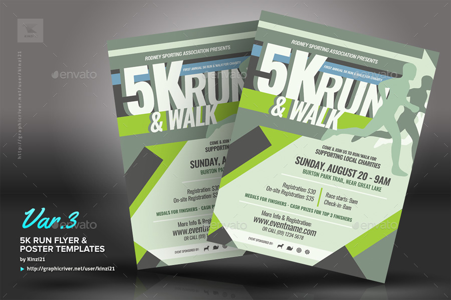 5k Run Flyer And Poster Templates By Kinzi21 Graphicriver