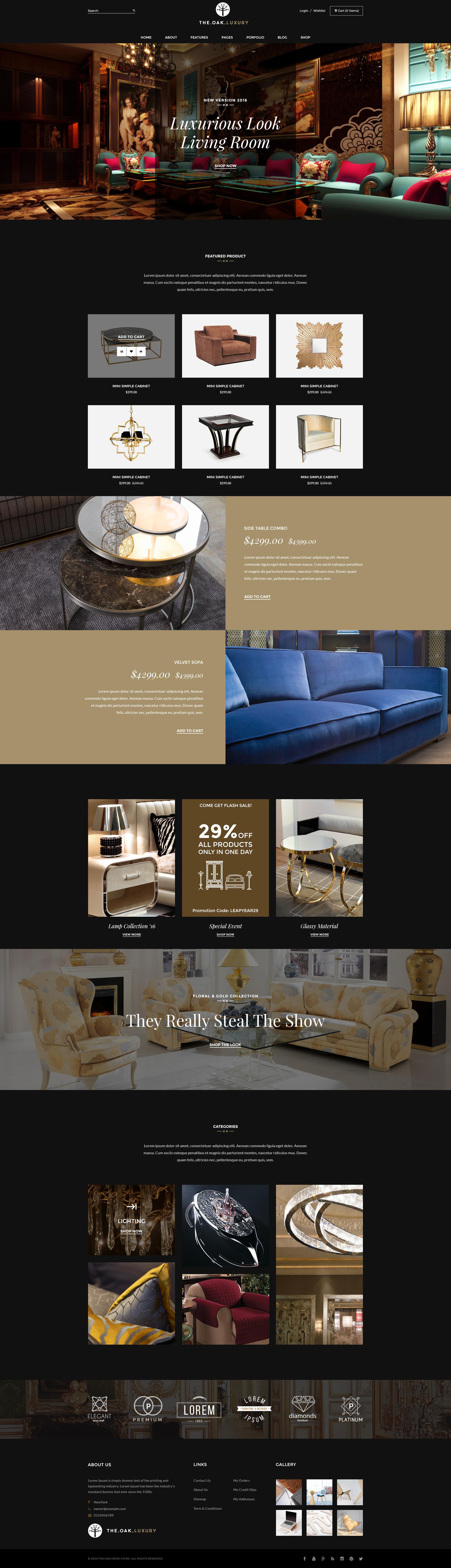 Nice WordPress WooCommerce Theme For Furniture Decoration Design ECommerce Store    WP TheOak