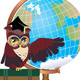 Owl with Globe - GraphicRiver Item for Sale