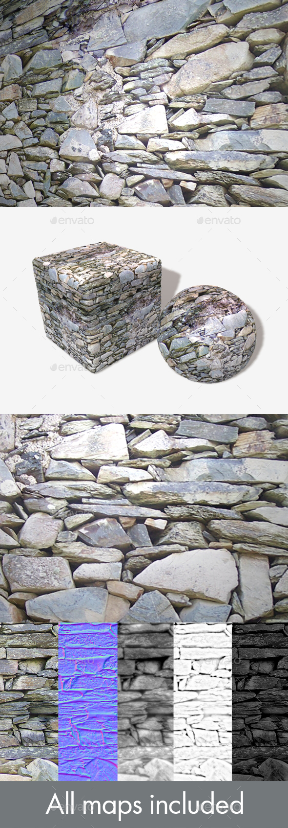 Grey Rock Wall Seamless Texture - 3DOcean Item for Sale